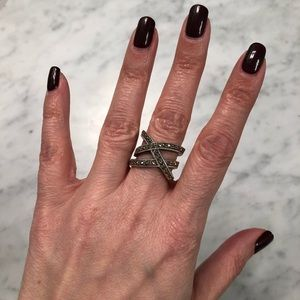 Unique Sterling Silver Marcasite Statement Ring